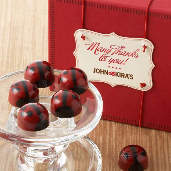 Ganache Red Lovebug Chocolates 9pc - Thank You