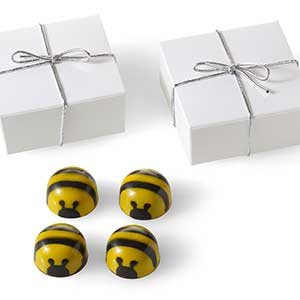 Chocolate Bee Favor 4pc: Silver Cord