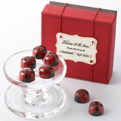 Red Ganache Ladybug Chocolates 9pc - Business